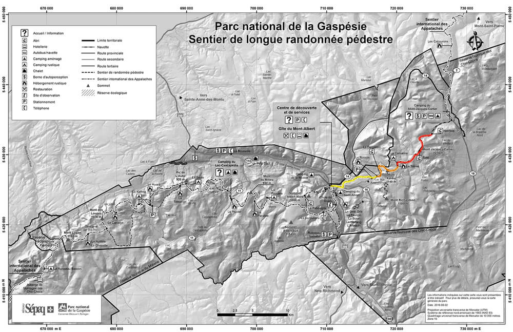 Map of all the hiking trails in the Gaspesie National Park. The McGerrigle Crossing Trail is highlighted.