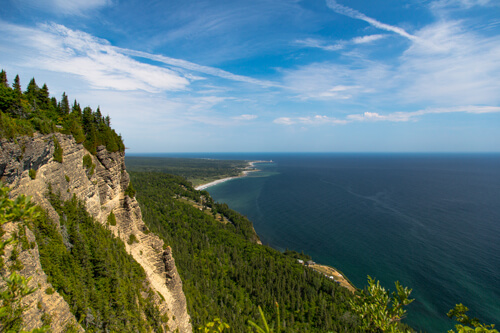 The view over the Forillon National Park while hiking up the Cap-Bon-Ami trail