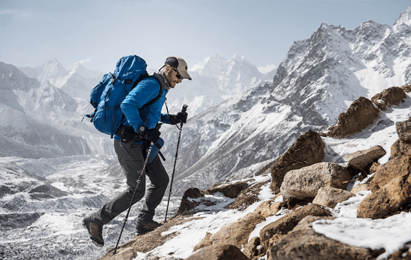 The high altitude expedition guide and LOWA Ambassador, Emmanuel Daigle, trekking in Nepal