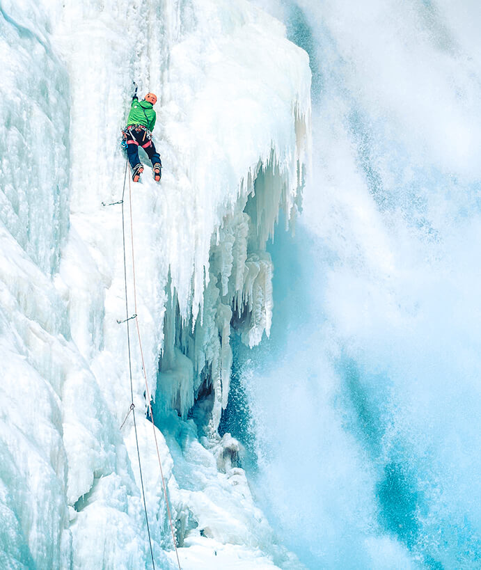 Ice climbing at Montmorency Falls in Quebec city