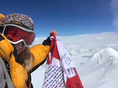 The Canadian alpinist Monique Richard on the summit of K2